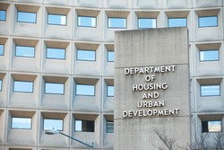 WASHINGTON, DC - DECEMBER 26: Sign in front of the Department of Housing and Urban Development in downtown Washington, DC on December 26, 2014.