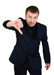 businessman show thumb down sing isolated over white with clipping path