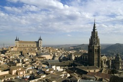 View of Toledo, Spain including Alcazar and the cathedral.
