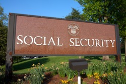 WOODLAWN, MD - MAY 4: Sign outside Social Security Administration Headquarters in Woodlawn, MD on May 4, 2015.