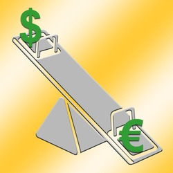 Seesaw with dollar up and euro down in gray and yellow