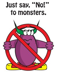 Vector purple monster holding universal no symbol