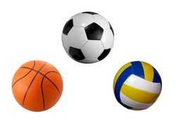 closeup of soccer, basket and volley ball on white background. each one is a separate picture in full cameras resolution