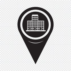 Map Pointer Building Icon