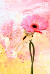 Abstract floral background with daisy flower