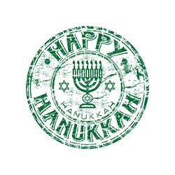 Green grunge rubber stamp with menorah and the star of David. Happy Hanukkah