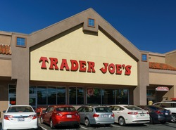 SANTA CLARITA,CA/USA - OCTOBER 31, 2015: Trader Joe's  exterior and sign. Trader Joe's is an American privately held chain of specialty grocery stores headquartered in Monrovia, California.