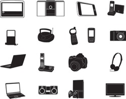 A vector illustration set of modern electronic objects