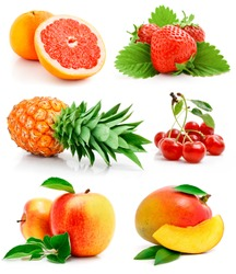 set of fresh fruits with green leaves isolated on white background