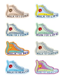 Running shoe illustrations for generic and specific charities including Cancer and MS
