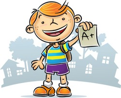 Illustration of Kid showing his A+ report