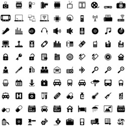 One hundred different highly detailed vector Icons for Web Applications