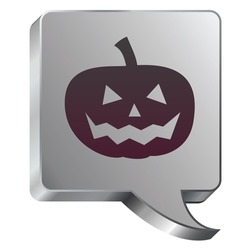 Halloween pumpkin Jack-o-lantern icon on stainless steel modern industrial voice bubble icon suitable for use as a website accent, on promotional materials, or in advertisements.
