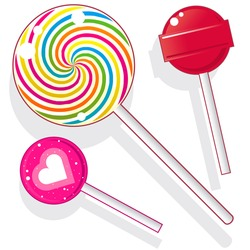 Lollipops and suckers.  Vector candy set includes spherical lolly pops as well as round swirl pop.
