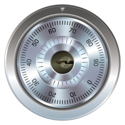 Combination lock with keyhole.  Typically found on a bank or gun safe.  Dial operation is fully detailed along with an accurate keyhole.  Security symbol.