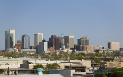 Blue Sky Cityscape of Phoenix Downtown in the Midst of Arizona Hot Summer