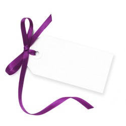 Blank gift tag tied with a bow of purple satin ribbon.  Isolated on white, with soft shadow.