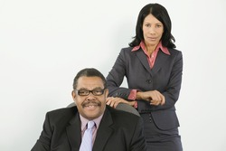 Portrait of a businessman and a businesswoman