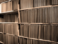Shelf full of folders and files in an office