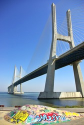 Modern bridge in river Tejo, Portugal.