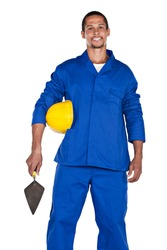mixed race construction worker with yellow hard hat and trowel, isolated on white