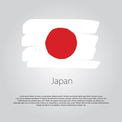 Japan Flag with colored hand drawn lines in Vector Format
