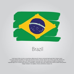 Brazil Flag with colored hand drawn lines in Vector Format