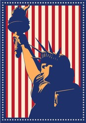 Placard with American statue liberty; New York symbol