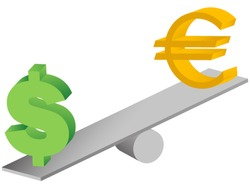 euro and dollar symbols on seesaw-concept of global currencies instability and financial crisis