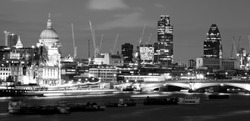 City of London at night, in black and white