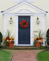 autumn decorated home entrance