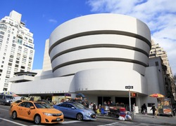 New York, NY, USA - March 26, 2016: Solomon R. Guggenheim Museum: The Solomon R. Guggenheim Museum is an art museum located at 1071 Fifth Avenue on the corner of East 89th Street in Manhattan