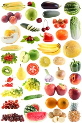 The set fruit, vegetables on a white background, is isolated.