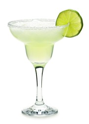 Margarita in glass with lime isolated on white background