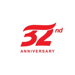 32 anniversary wave logo red
