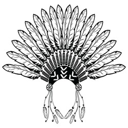 c39220ed7730e Aztec, ethnic style headdress with plain feathers, beads symbolizing native  American tribes and warrior