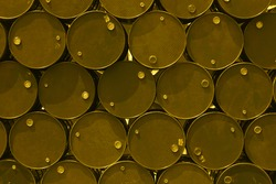 steel tank or oil fuel toxic chemical barrels old rusty.