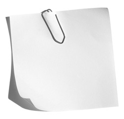 A white memo with a paper clip isolated on a white background.