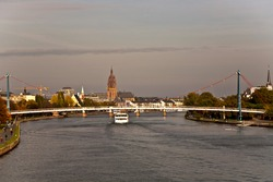"Skyline von Frankfurt, view from ""Friedensbrücke"" over the river Main with beautiful sky"