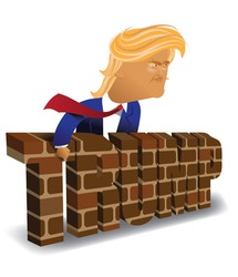 MAY 6, 2016: Illustrative editorial cartoon of Donald Trump behind a brick wall. EPS 10 vector.