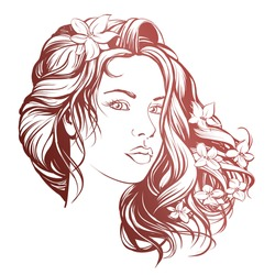 beautiful woman face vector illustration sketch