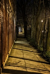 Dark Urban City Alleys and Streets at Night
