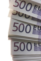 a lot of Euro banknotes money