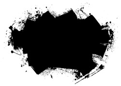 Grunge style black roller marks with ink splats and room for text