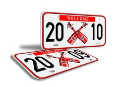 illustration of a car license plate with new year 2010 and old plates 2009