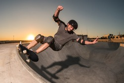 Skateboarder in a bowl
