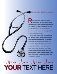 Health care page layout with stethoscope and heart graph.