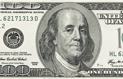 Detail of Ben Franklin on the 100 dollar bill