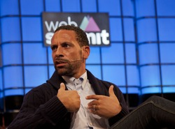 DUBLIN, IRELAND - NOVEMBER 2015: Former England and Manchester United football player, Rio Ferdinand, speaks at the Web Summit in the Royal Dublin Society.