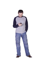 Casual Man Checking his email on this smartphone - Isolated Background